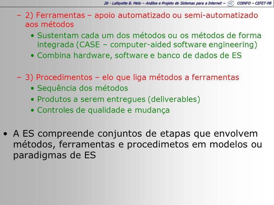 28 - Lafayette B. Melo – Análise e Projeto de Sistemas para a Internet – COINFO – CEFET-PB –2) Ferramentas – apoio automatizado ou semi-automatizado a