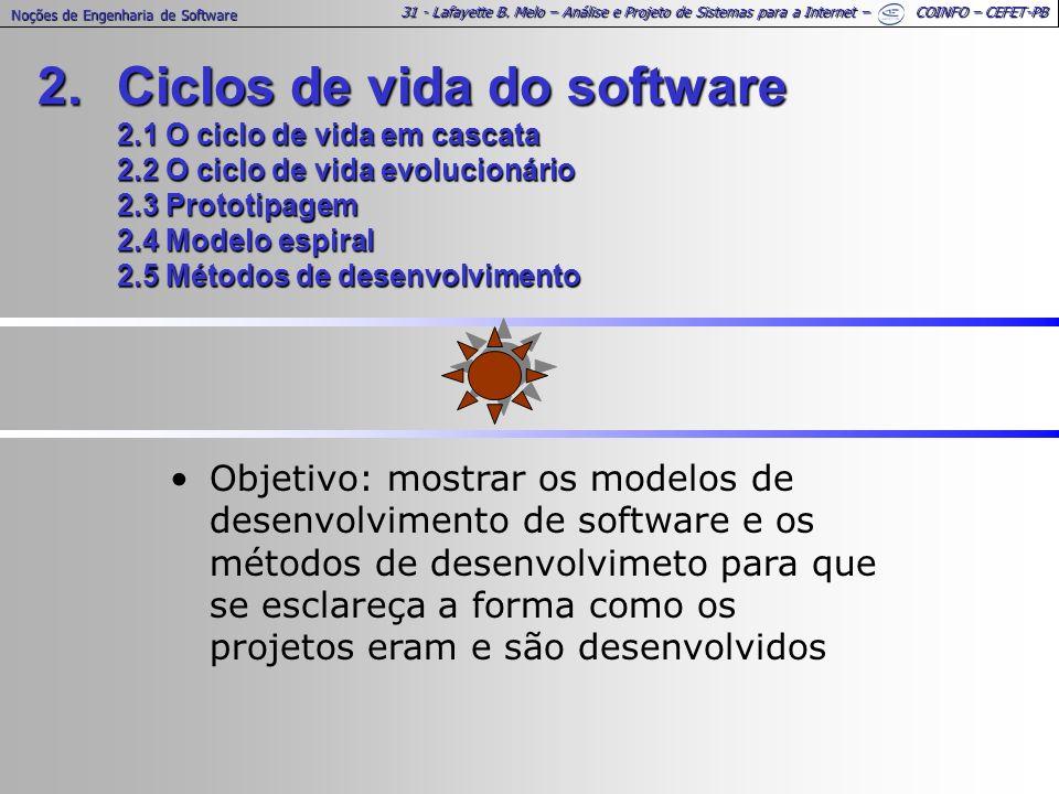 31 - Lafayette B. Melo – Análise e Projeto de Sistemas para a Internet – COINFO – CEFET-PB Noções de Engenharia de Software 2.Ciclos de vida do softwa