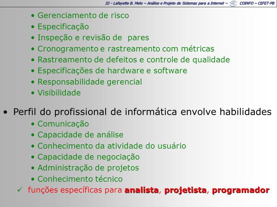 33 - Lafayette B. Melo – Análise e Projeto de Sistemas para a Internet – COINFO – CEFET-PB Gerenciamento de risco Especificação Inspeção e revisão de