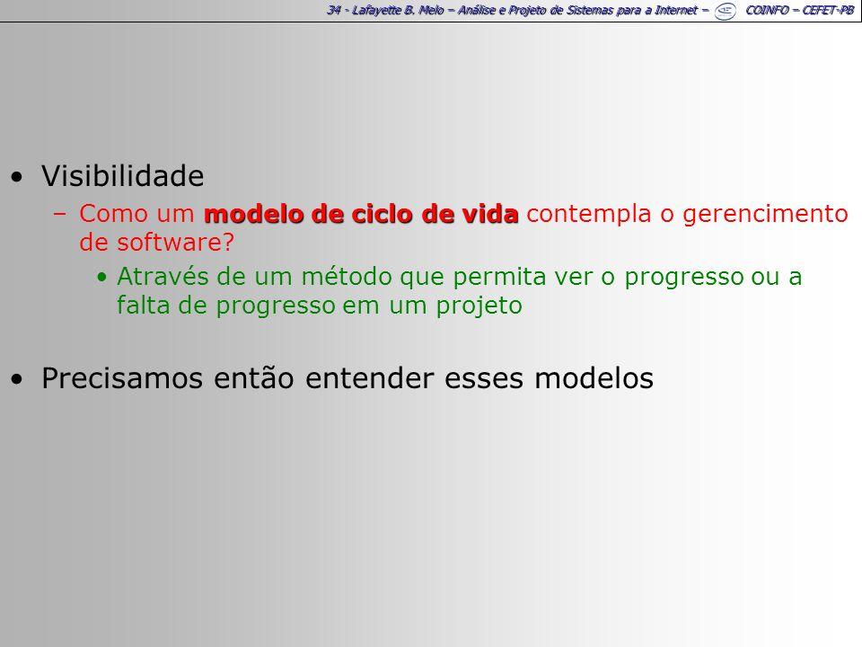34 - Lafayette B. Melo – Análise e Projeto de Sistemas para a Internet – COINFO – CEFET-PB Visibilidade modelo de ciclo de vida –Como um modelo de cic