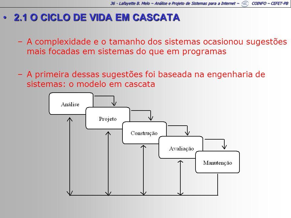 36 - Lafayette B. Melo – Análise e Projeto de Sistemas para a Internet – COINFO – CEFET-PB 2.1 O CICLO DE VIDA EM CASCATA2.1 O CICLO DE VIDA EM CASCAT