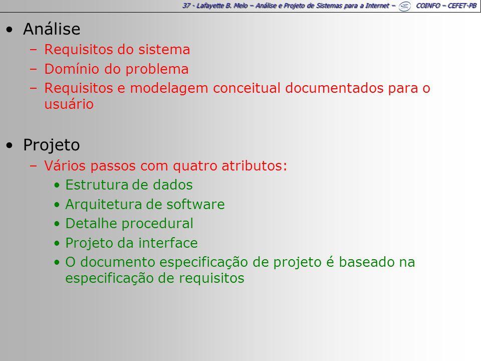 37 - Lafayette B. Melo – Análise e Projeto de Sistemas para a Internet – COINFO – CEFET-PB Análise –Requisitos do sistema –Domínio do problema –Requis