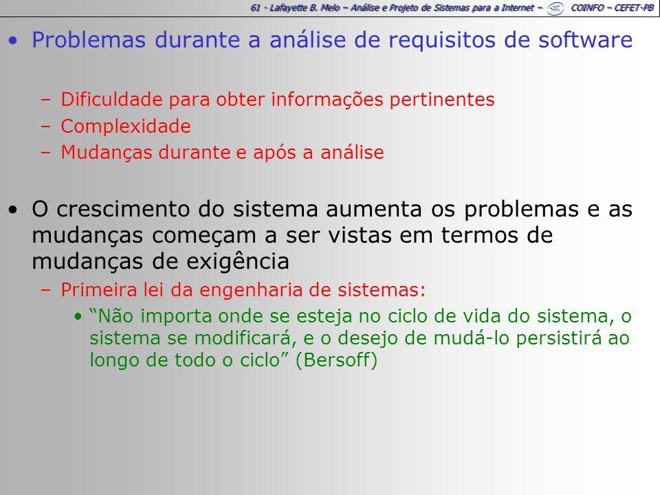61 - Lafayette B. Melo – Análise e Projeto de Sistemas para a Internet – COINFO – CEFET-PB Problemas durante a análise de requisitos de software –Difi