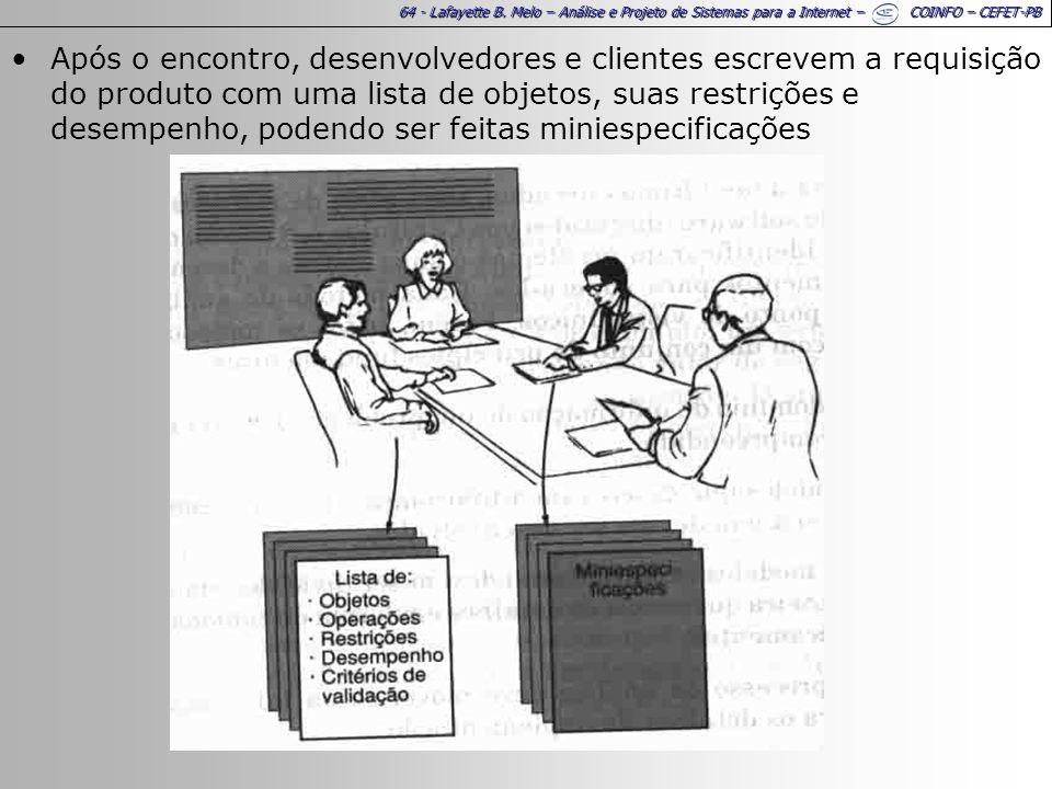 64 - Lafayette B. Melo – Análise e Projeto de Sistemas para a Internet – COINFO – CEFET-PB Após o encontro, desenvolvedores e clientes escrevem a requ