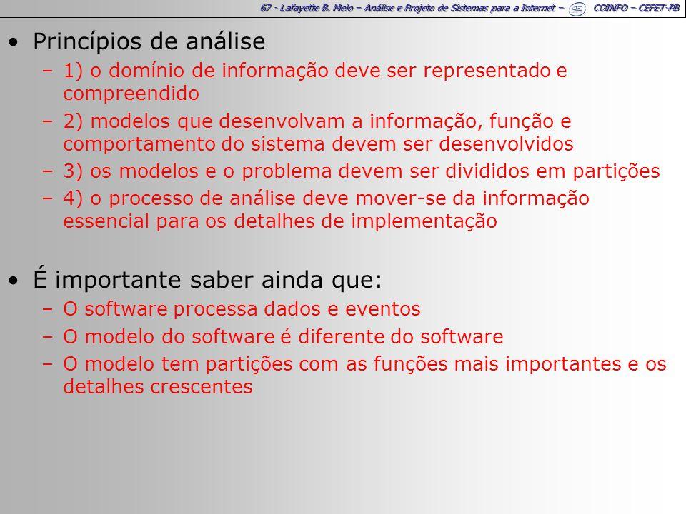 67 - Lafayette B. Melo – Análise e Projeto de Sistemas para a Internet – COINFO – CEFET-PB Princípios de análise –1) o domínio de informação deve ser