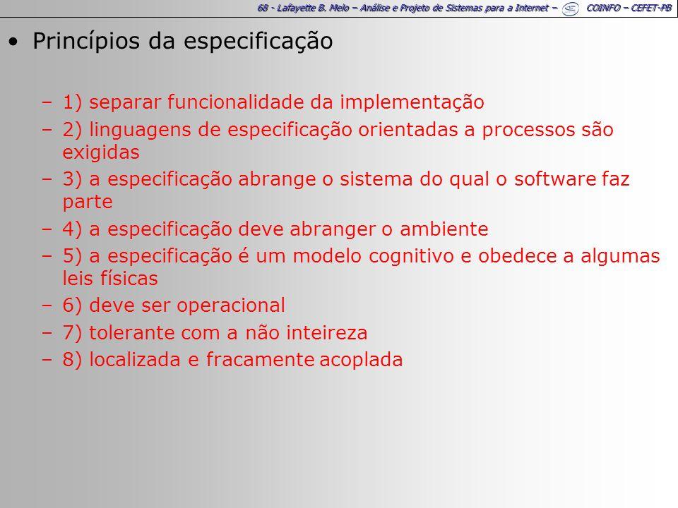 68 - Lafayette B. Melo – Análise e Projeto de Sistemas para a Internet – COINFO – CEFET-PB Princípios da especificação –1) separar funcionalidade da i