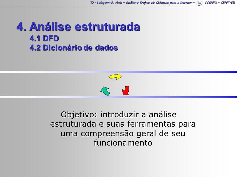 72 - Lafayette B. Melo – Análise e Projeto de Sistemas para a Internet – COINFO – CEFET-PB 4. Análise estruturada 4.1 DFD 4.2 Dicionário de dados Obje