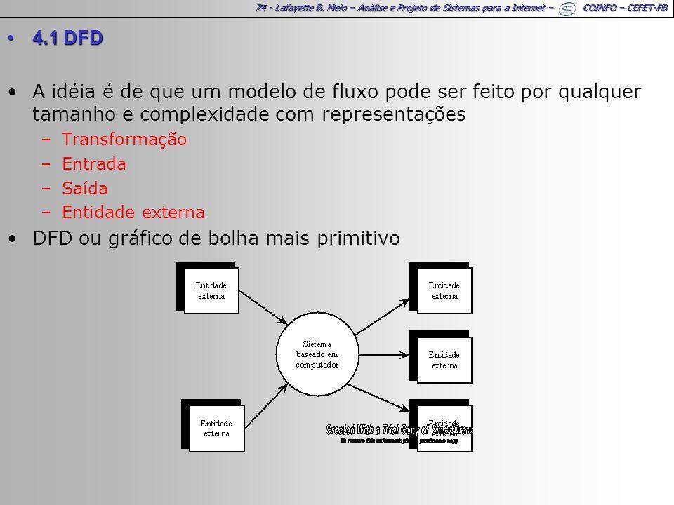 74 - Lafayette B. Melo – Análise e Projeto de Sistemas para a Internet – COINFO – CEFET-PB 4.1 DFD4.1 DFD A idéia é de que um modelo de fluxo pode ser