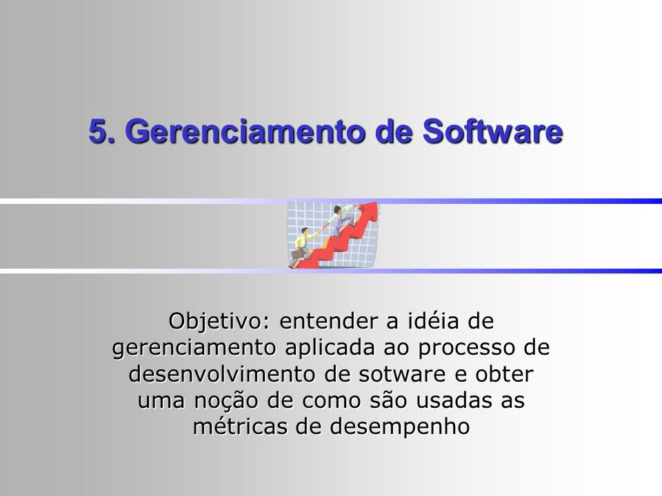 5. Gerenciamento de Software Objetivo: entender a idéia de gerenciamento aplicada ao processo de desenvolvimento de sotware e obter uma noção de como