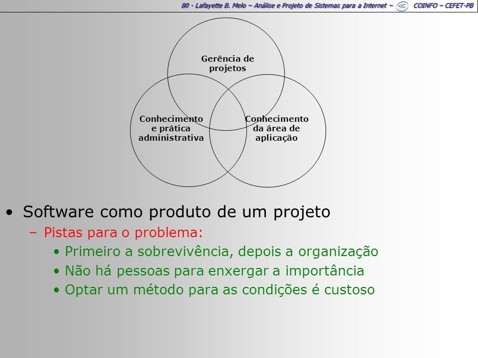 80 - Lafayette B. Melo – Análise e Projeto de Sistemas para a Internet – COINFO – CEFET-PB Software como produto de um projeto –Pistas para o problema