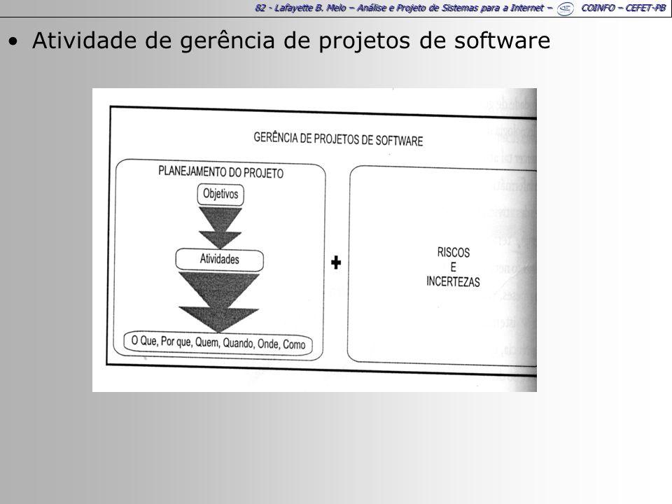 82 - Lafayette B. Melo – Análise e Projeto de Sistemas para a Internet – COINFO – CEFET-PB Atividade de gerência de projetos de software