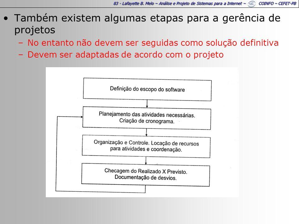 83 - Lafayette B. Melo – Análise e Projeto de Sistemas para a Internet – COINFO – CEFET-PB Também existem algumas etapas para a gerência de projetos –