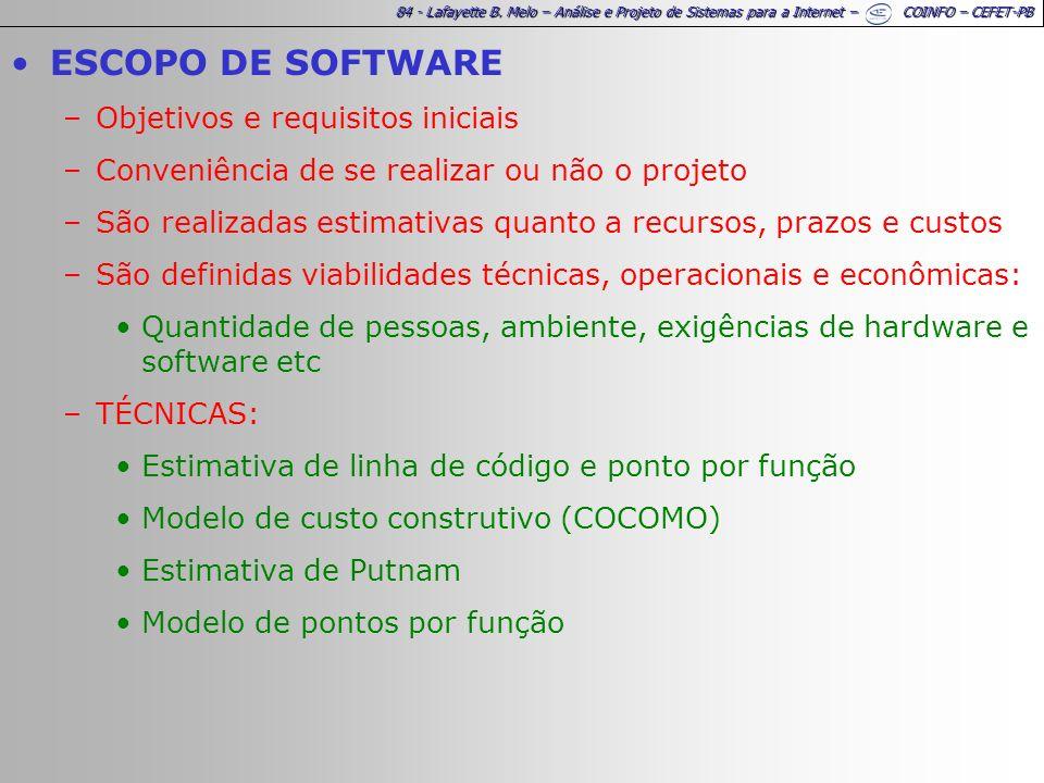 84 - Lafayette B. Melo – Análise e Projeto de Sistemas para a Internet – COINFO – CEFET-PB ESCOPO DE SOFTWARE –Objetivos e requisitos iniciais –Conven