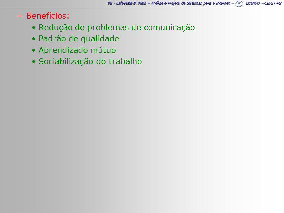 90 - Lafayette B. Melo – Análise e Projeto de Sistemas para a Internet – COINFO – CEFET-PB –Benefícios: Redução de problemas de comunicação Padrão de