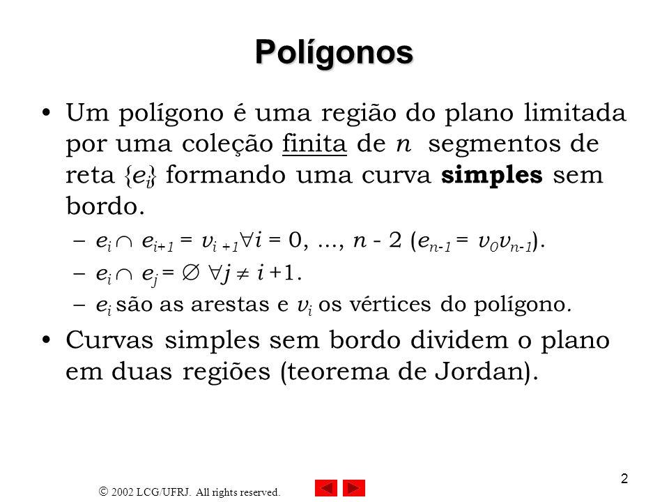 2002 LCG/UFRJ. All rights reserved. 2 Polígonos Um polígono é uma região do plano limitada por uma coleção finita de n segmentos de reta { e i } forma