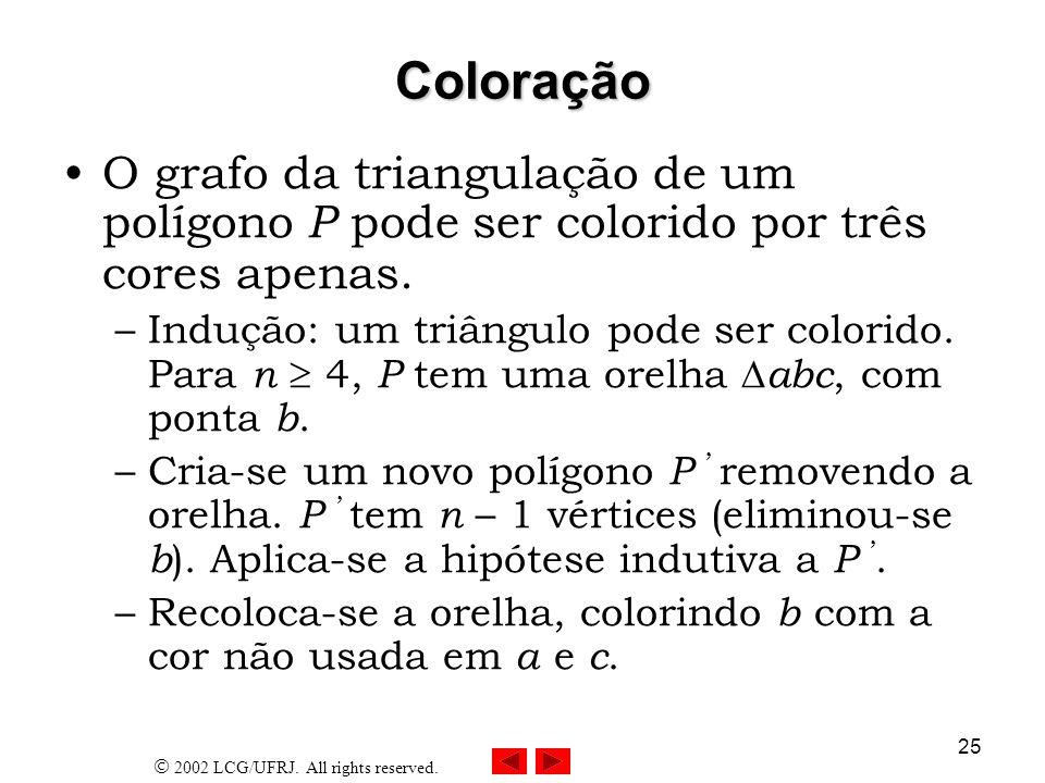 2002 LCG/UFRJ. All rights reserved. 25 Coloração O grafo da triangulação de um polígono P pode ser colorido por três cores apenas. –Indução: um triâng