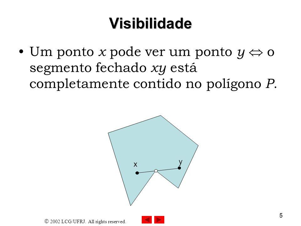 2002 LCG/UFRJ. All rights reserved. 5 Visibilidade Um ponto x pode ver um ponto y o segmento fechado xy está completamente contido no polígono P. x y