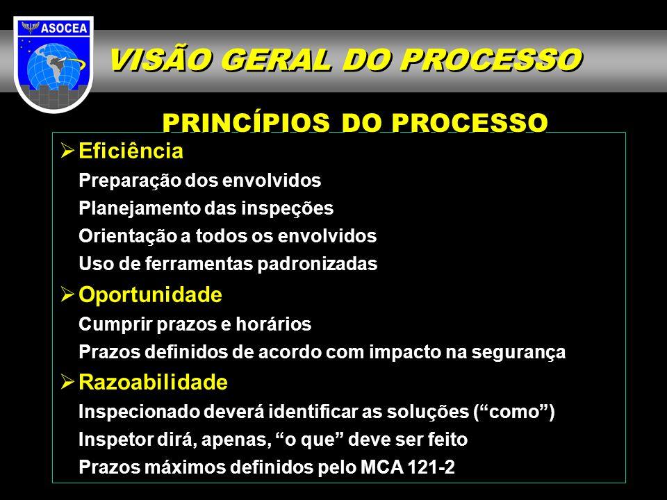 Eficiência Preparação dos envolvidos Planejamento das inspeções Orientação a todos os envolvidos Uso de ferramentas padronizadas Oportunidade Cumprir prazos e horários Prazos definidos de acordo com impacto na segurança Razoabilidade Inspecionado deverá identificar as soluções (como) Inspetor dirá, apenas, o que deve ser feito Prazos máximos definidos pelo MCA 121-2 PRINCÍPIOS DO PROCESSO VISÃO GERAL DO PROCESSO