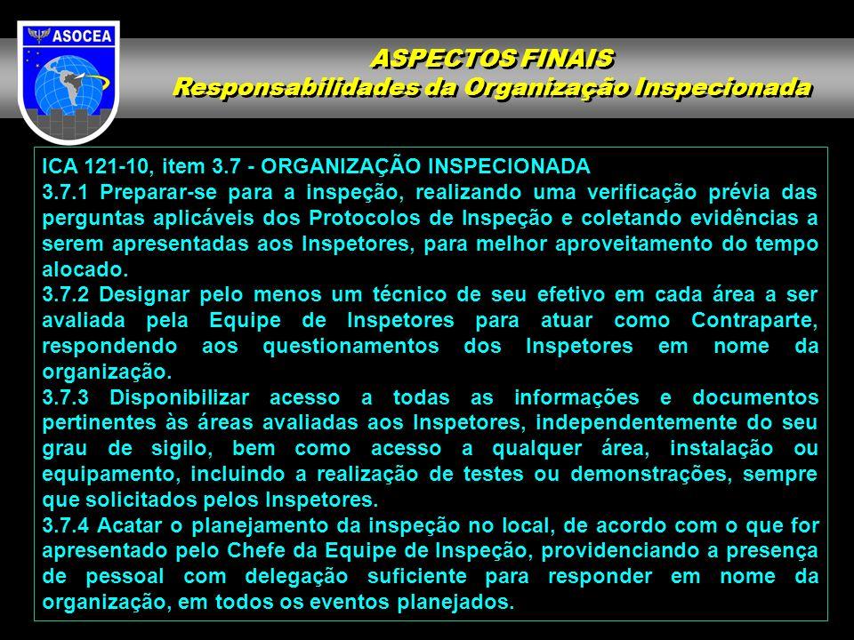 ICA 121-10, item 3.7 - ORGANIZAÇÃO INSPECIONADA 3.7.1 Preparar-se para a inspeção, realizando uma verificação prévia das perguntas aplicáveis dos Protocolos de Inspeção e coletando evidências a serem apresentadas aos Inspetores, para melhor aproveitamento do tempo alocado.