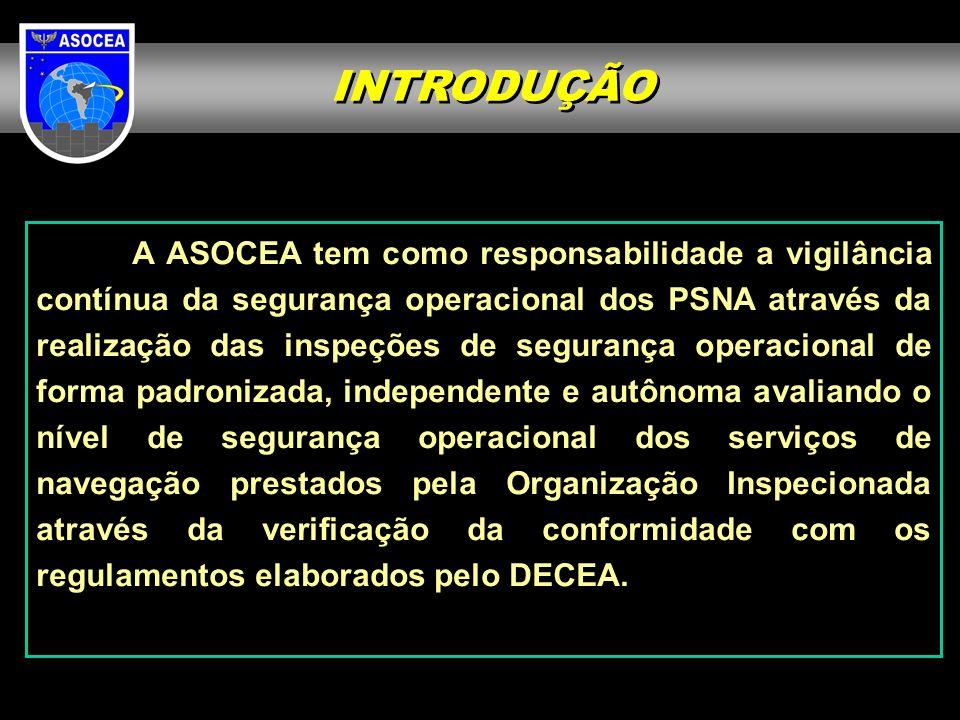 INTRODUÇÃO A ASOCEA tem como responsabilidade a vigilância contínua da segurança operacional dos PSNA através da realização das inspeções de segurança operacional de forma padronizada, independente e autônoma avaliando o nível de segurança operacional dos serviços de navegação prestados pela Organização Inspecionada através da verificação da conformidade com os regulamentos elaborados pelo DECEA.