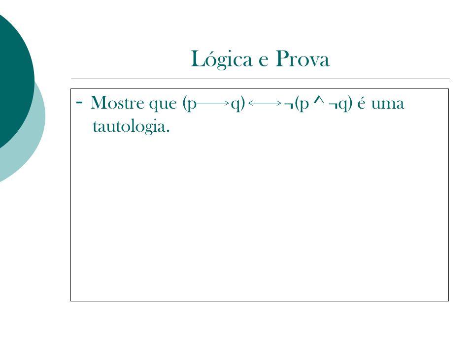 Lógica e Prova - Mostre que (p q) ¬(p ^ ¬q) é uma tautologia.