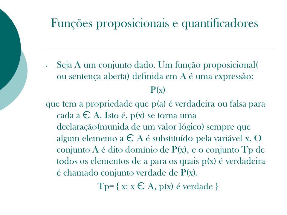 Funções proposicionais e quantificadores - Seja A um conjunto dado. Um função proposicional( ou sentença aberta) definida em A é uma expressão: P(x) q