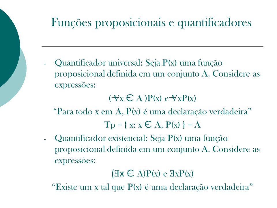 Funções proposicionais e quantificadores - Quantificador universal: Seja P(x) uma função proposicional definida em um conjunto A. Considere as express