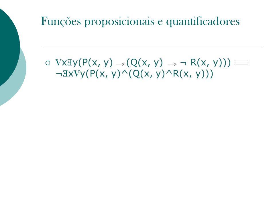 V x Ǝ y(P(x, y) (Q(x, y) ¬ R(x, y))) ¬ Ǝ x V y(P(x, y)^(Q(x, y)^R(x, y))) Funções proposicionais e quantificadores