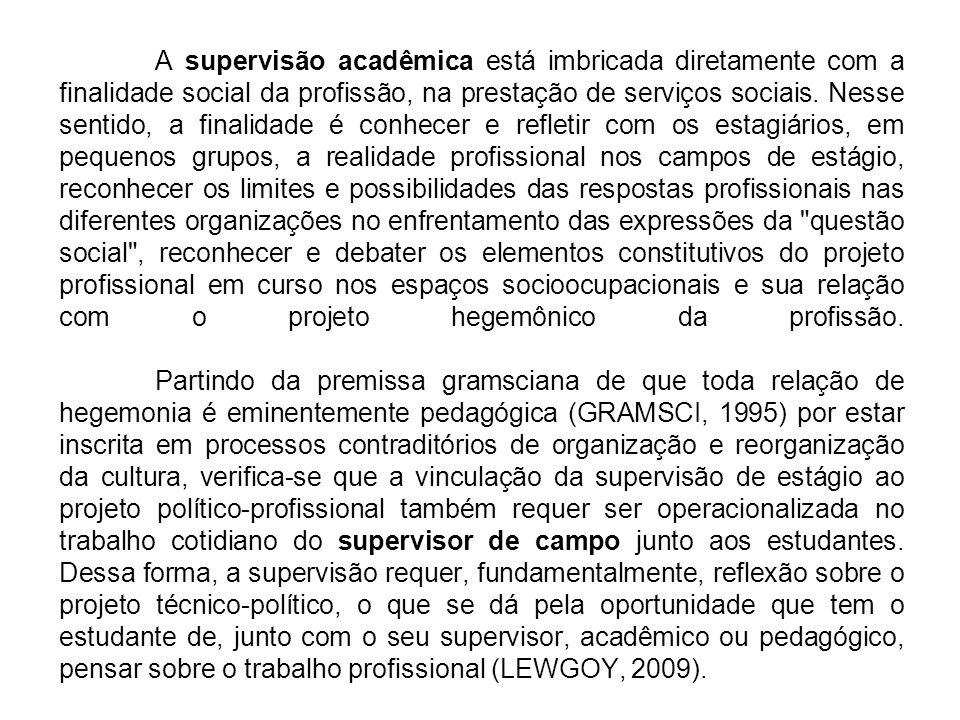 A supervisão acadêmica está imbricada diretamente com a finalidade social da profissão, na prestação de serviços sociais. Nesse sentido, a finalidade