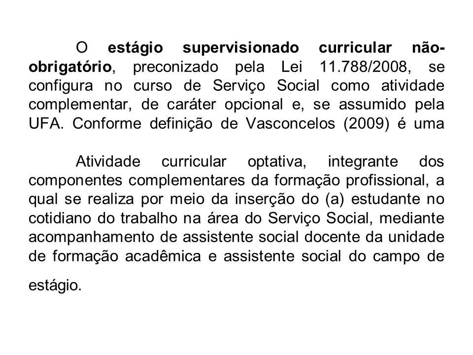 O estágio supervisionado curricular não- obrigatório, preconizado pela Lei 11.788/2008, se configura no curso de Serviço Social como atividade complem