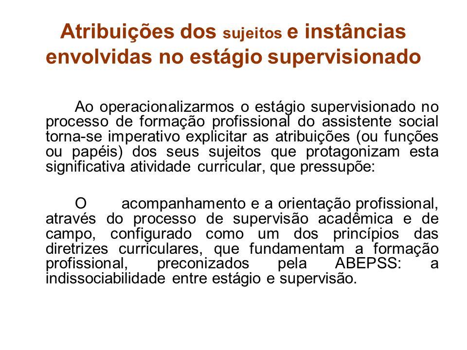 Atribuições dos sujeitos e instâncias envolvidas no estágio supervisionado Ao operacionalizarmos o estágio supervisionado no processo de formação prof