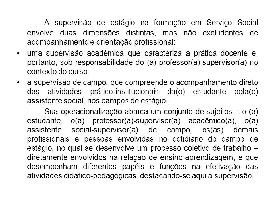 A supervisão de estágio na formação em Serviço Social envolve duas dimensões distintas, mas não excludentes de acompanhamento e orientação profissiona