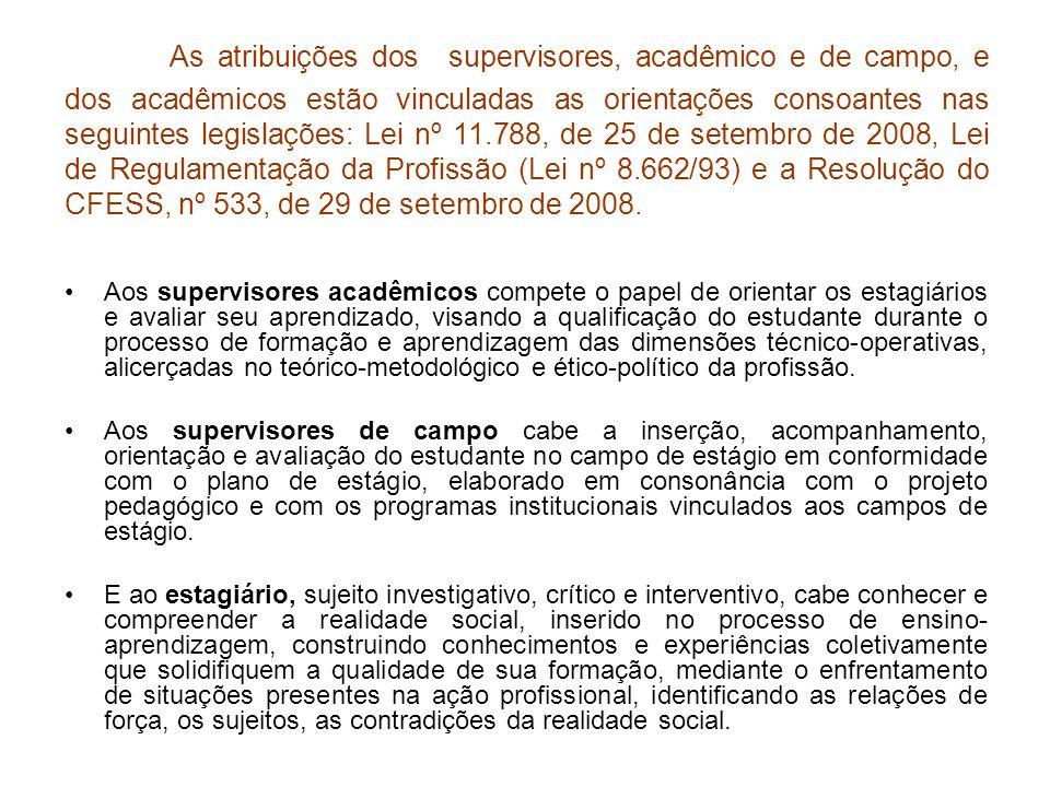 As atribuições dos supervisores, acadêmico e de campo, e dos acadêmicos estão vinculadas as orientações consoantes nas seguintes legislações: Lei nº 1