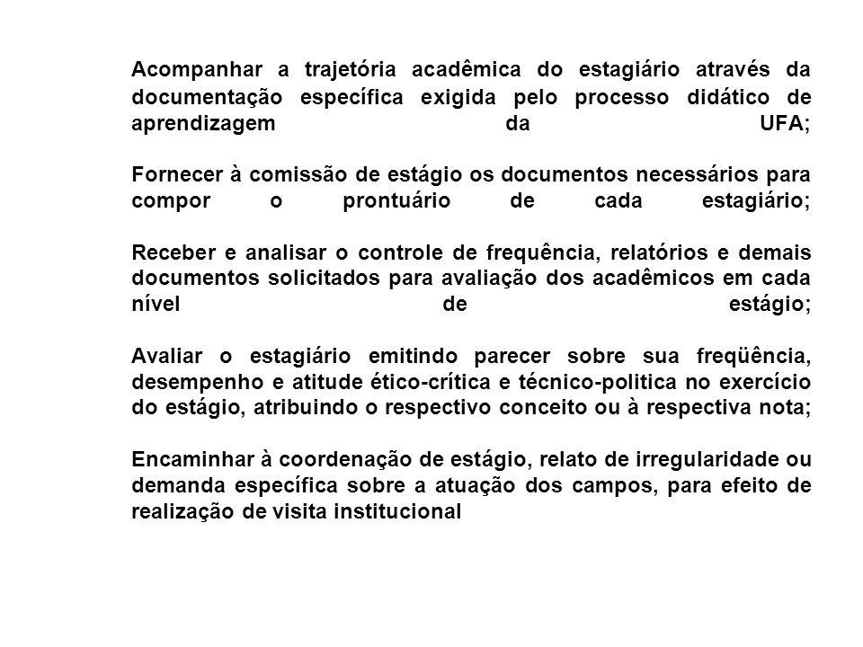 Acompanhar a trajetória acadêmica do estagiário através da documentação específica exigida pelo processo didático de aprendizagem da UFA; Fornecer à c