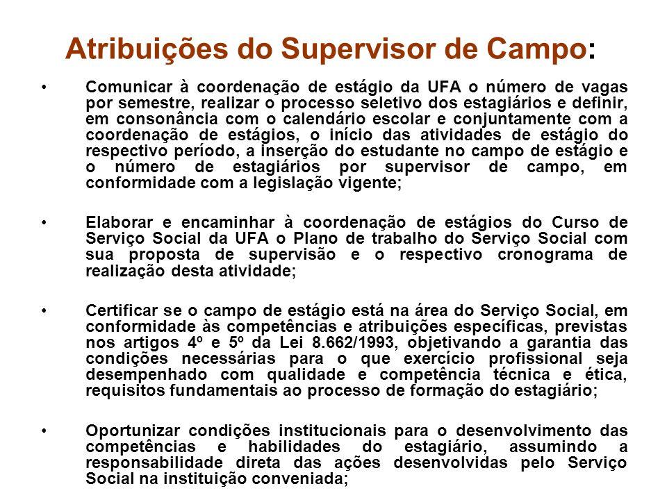 Atribuições do Supervisor de Campo: Comunicar à coordenação de estágio da UFA o número de vagas por semestre, realizar o processo seletivo dos estagiá