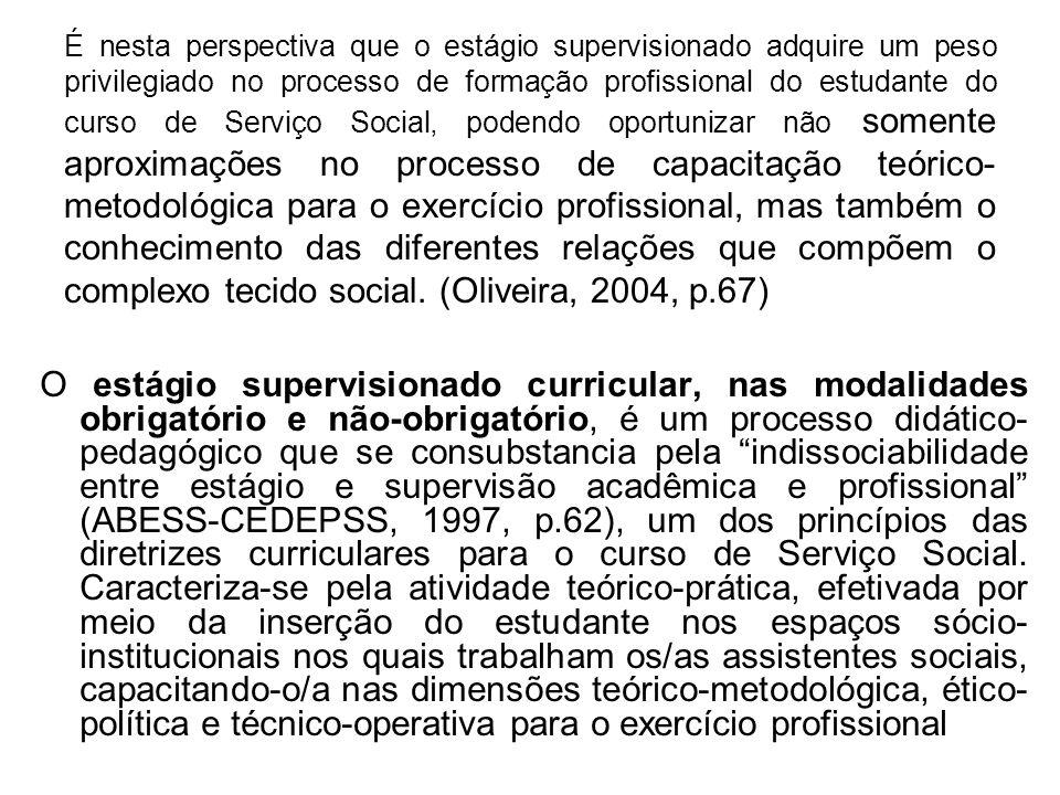 É nesta perspectiva que o estágio supervisionado adquire um peso privilegiado no processo de formação profissional do estudante do curso de Serviço So
