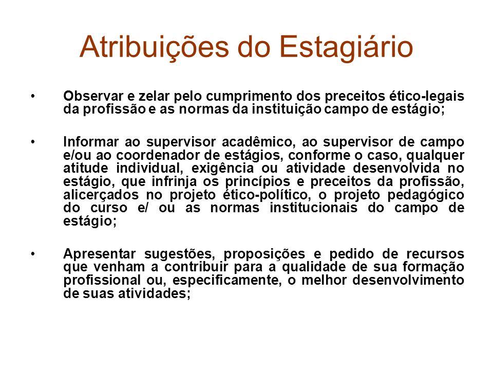 Atribuições do Estagiário Observar e zelar pelo cumprimento dos preceitos ético-legais da profissão e as normas da instituição campo de estágio; Infor