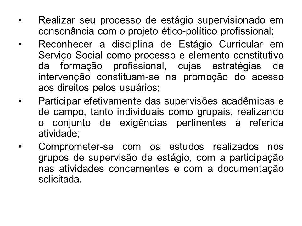 Realizar seu processo de estágio supervisionado em consonância com o projeto ético-político profissional; Reconhecer a disciplina de Estágio Curricula