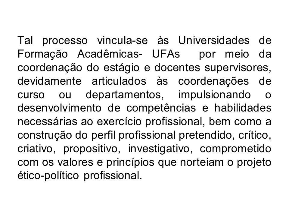 Tal processo vincula-se às Universidades de Formação Acadêmicas- UFAs por meio da coordenação do estágio e docentes supervisores, devidamente articula