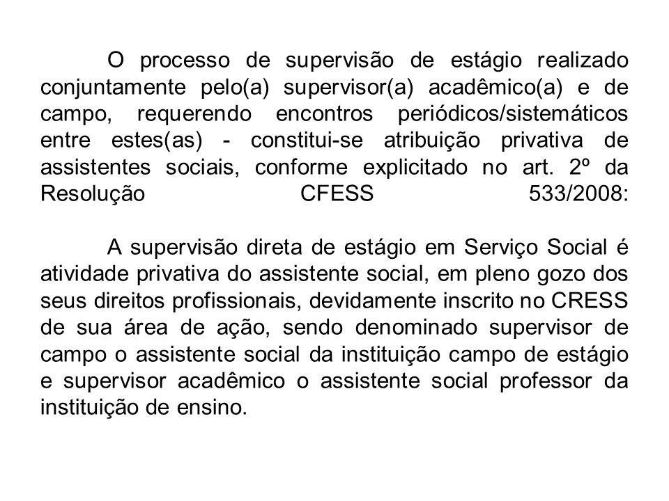 As atribuições dos supervisores, acadêmico e de campo, e dos acadêmicos estão vinculadas as orientações consoantes nas seguintes legislações: Lei nº 11.788, de 25 de setembro de 2008, Lei de Regulamentação da Profissão (Lei nº 8.662/93) e a Resolução do CFESS, nº 533, de 29 de setembro de 2008.