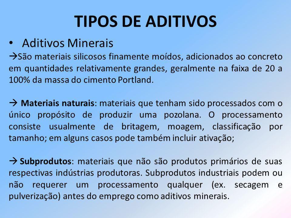 Aditivos Minerais São materiais silicosos finamente moídos, adicionados ao concreto em quantidades relativamente grandes, geralmente na faixa de 20 a