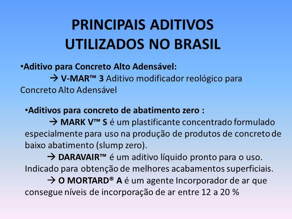 PRINCIPAIS ADITIVOS UTILIZADOS NO BRASIL Aditivo para Concreto Alto Adensável: V-MAR 3 Aditivo modificador reológico para Concreto Alto Adensável Adit