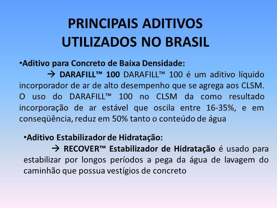 PRINCIPAIS ADITIVOS UTILIZADOS NO BRASIL Aditivo para Concreto de Baixa Densidade: DARAFILL 100 DARAFILL 100 é um aditivo líquido incorporador de ar d