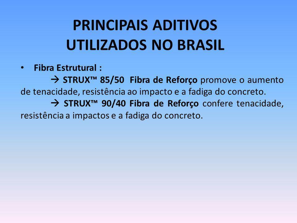 PRINCIPAIS ADITIVOS UTILIZADOS NO BRASIL Fibra Estrutural : STRUX 85/50 Fibra de Reforço promove o aumento de tenacidade, resistência ao impacto e a f