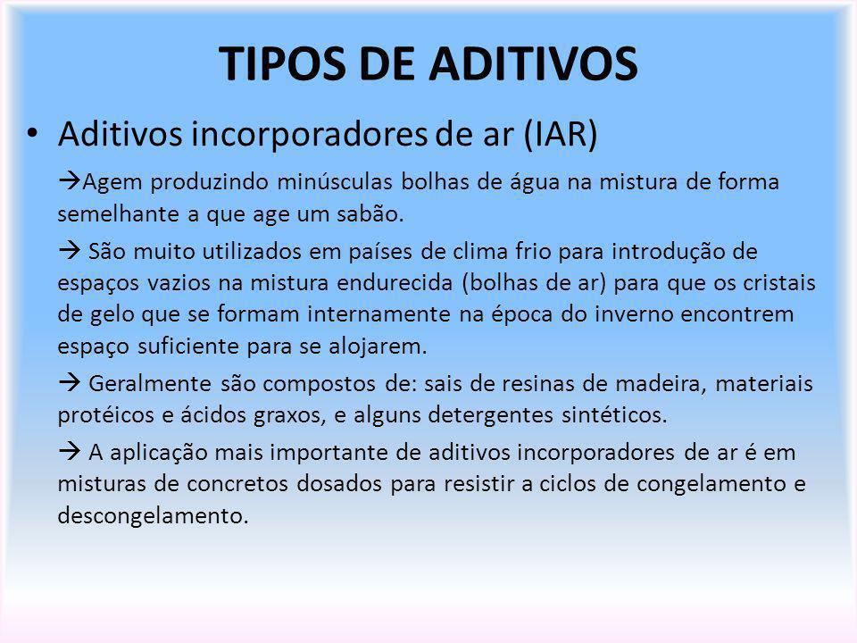 TIPOS DE ADITIVOS Aditivos incorporadores de ar (IAR) Agem produzindo minúsculas bolhas de água na mistura de forma semelhante a que age um sabão. São
