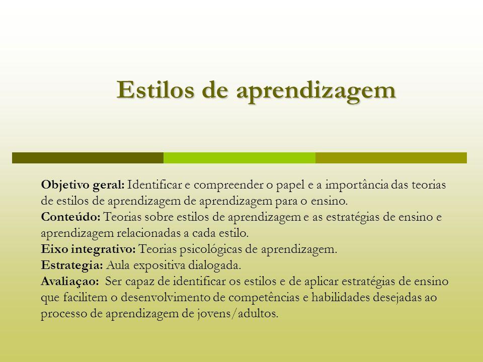 Estilos de aprendizagem Estilos de aprendizagem Objetivo geral: Identificar e compreender o papel e a importância das teorias de estilos de aprendizag