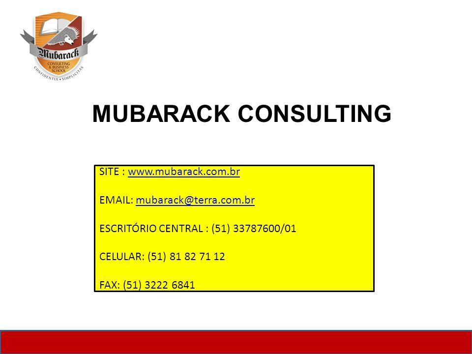 MUBARACK CONSULTING SITE : www.mubarack.com.brwww.mubarack.com.br EMAIL: mubarack@terra.com.brmubarack@terra.com.br ESCRITÓRIO CENTRAL : (51) 33787600