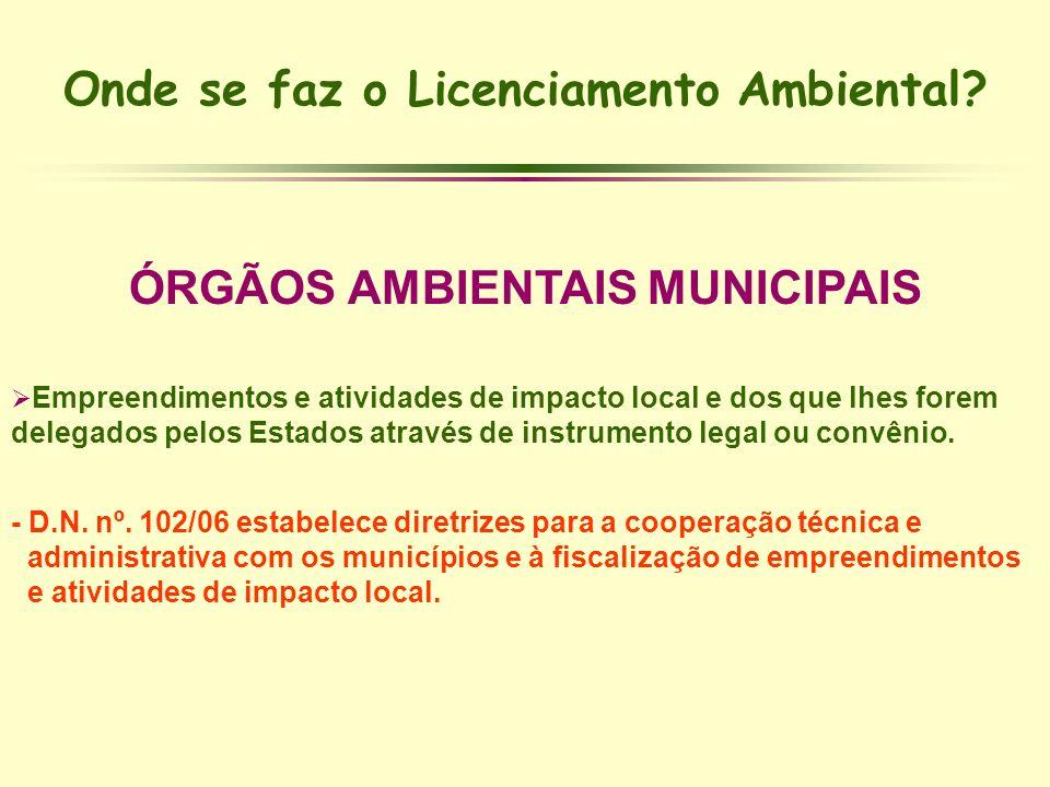 Onde se faz o Licenciamento Ambiental? ÓRGÃOS AMBIENTAIS MUNICIPAIS Empreendimentos e atividades de impacto local e dos que lhes forem delegados pelos