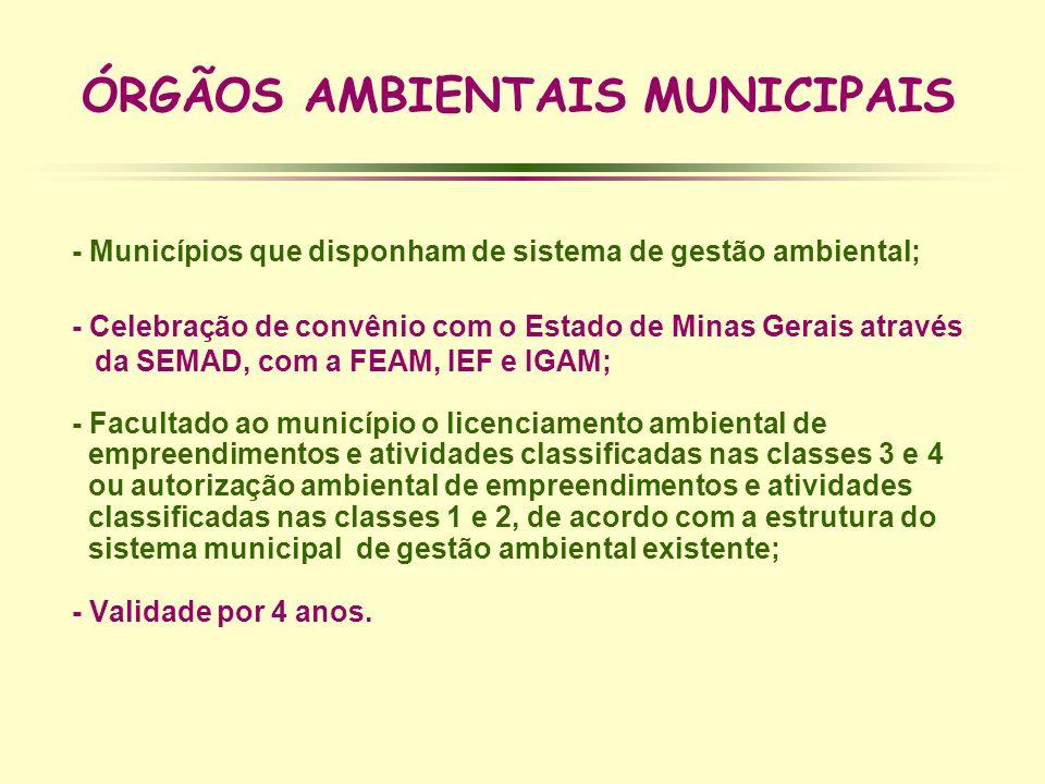 ÓRGÃOS AMBIENTAIS MUNICIPAIS - Municípios que disponham de sistema de gestão ambiental; - Celebração de convênio com o Estado de Minas Gerais através