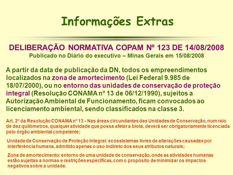 Informações Extras DELIBERAÇÃO NORMATIVA COPAM Nº 123 DE 14/08/2008 Publicado no Diário do executivo – Minas Gerais em 15/08/2008 A partir da data de